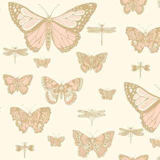 Cole & Son Butterflies & Dragons Classic Style Wallpaper Sample For Sale
