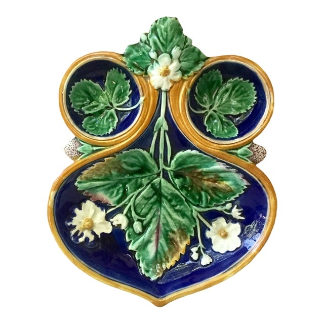 19th Century Wedgwood Majolica Strawberry Server For Sale