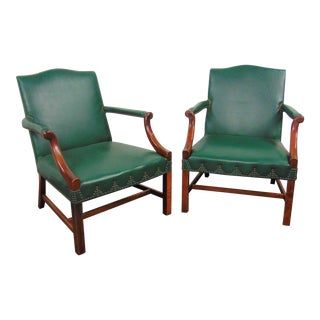Chippendale Style Mahogany Leather Library Chairs - a Pair For Sale