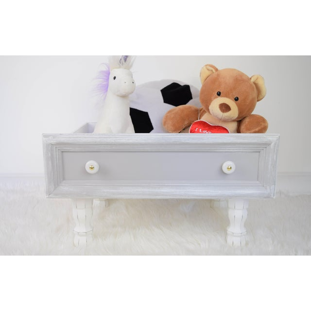 Shabby Chic Gray and White Mounted Drawer/Storage Box - Pet Bed For Sale - Image 3 of 12