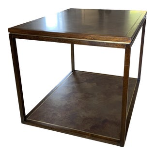 Mid-Century Modern Harry Lunstead Acid Etched Brass Oversized Two Tier Side Table For Sale