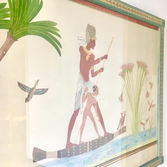 Folk Art Naive Watercolour Painting of an Ancient Egyptian Scene For Sale - Image 3 of 6