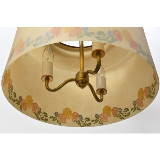 Vintage Floral Glass Shade Lightolier Fixture - Image 4 of 4