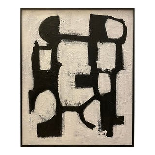 Contemporary Black and White Mid-Century Inspired Framed Painting For Sale