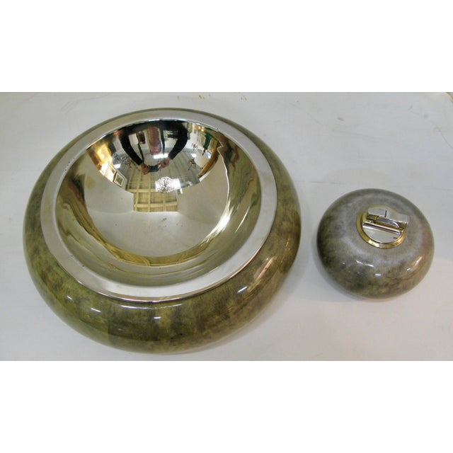 Brass Bowl With & Cigarette Lighter Set, Jade Green Goat Skin by Aldo Tura For Sale - Image 13 of 13