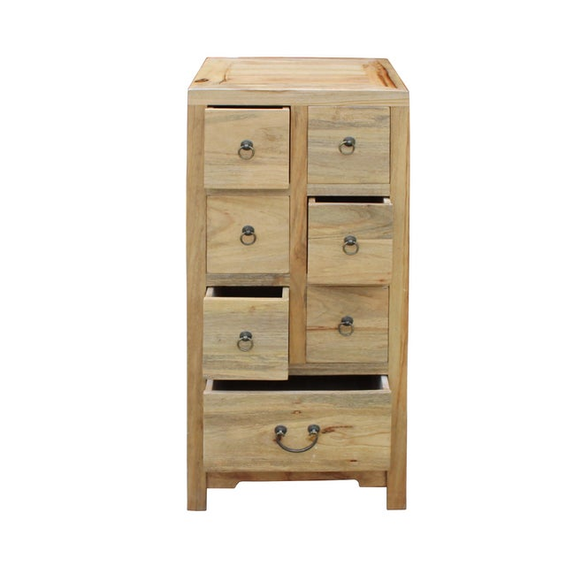 Chinese Raw Wood 7 Drawers Side Table Cabine For Sale In San Francisco - Image 6 of 9