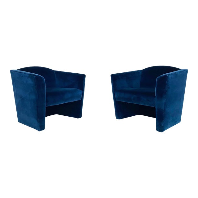 Post Modern Angular Barrel Back Lounge Chairs - a Pair For Sale