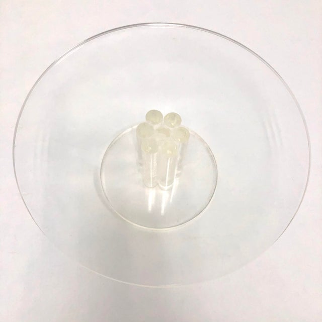 1960s Vintage Lucite Round Footed Cake Stand For Sale - Image 5 of 6