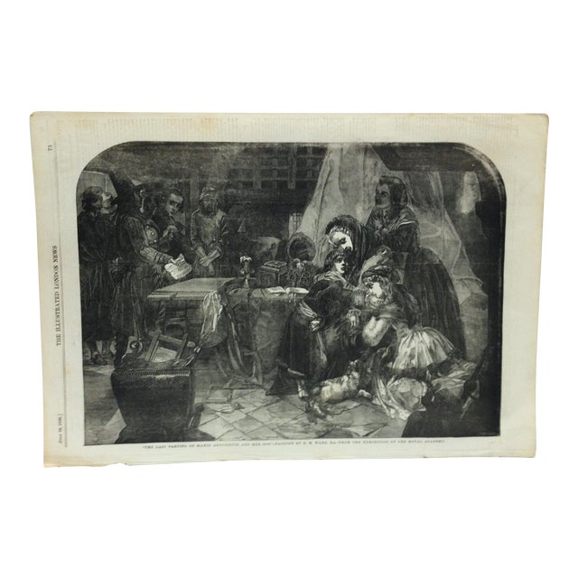 """Mid 19th Century Antique """"The Last Parting of Marie Antoinette and Her Son"""" The Illustrated London News Print For Sale"""