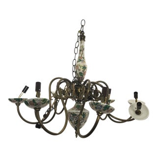 Vintage Italian Hand Painted Porcelain Chandelier For Sale