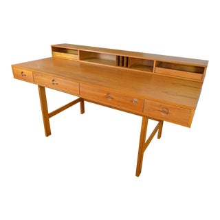 Classic Lovig Danish Mid Century Modern Teak Flip Top Desk For Sale