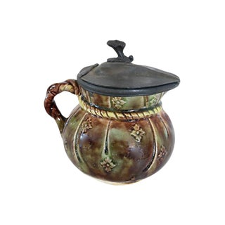 Antique Pewter Lid Majolica Syrup Jug For Sale