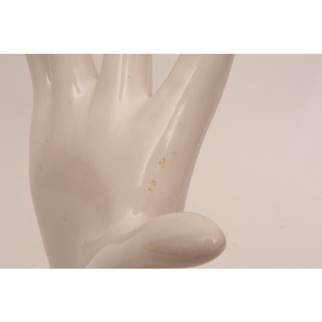 White Organic Modern Ceramic Hand Sculpture For Sale - Image 8 of 9
