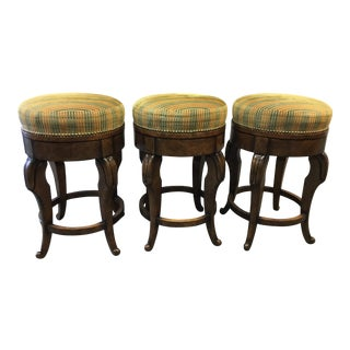Traditional William Switzer Counter Height Swivel Stools - Set of 3 For Sale