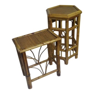Pair of Bamboo Side Tables For Sale