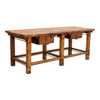 Antique Industrial Work Table Butchers Table/Kitchen Island With Two Deep Drawers For Sale