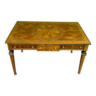 Late 19th Century French Louis Style Bronze Inlaid Wood Writing Desk For Sale