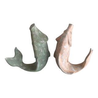 1980s Vintage Coastal John McEnroe Studio Candy Colored Pink & Green Koi Fish Plaster Art Sculptures - a Pair For Sale