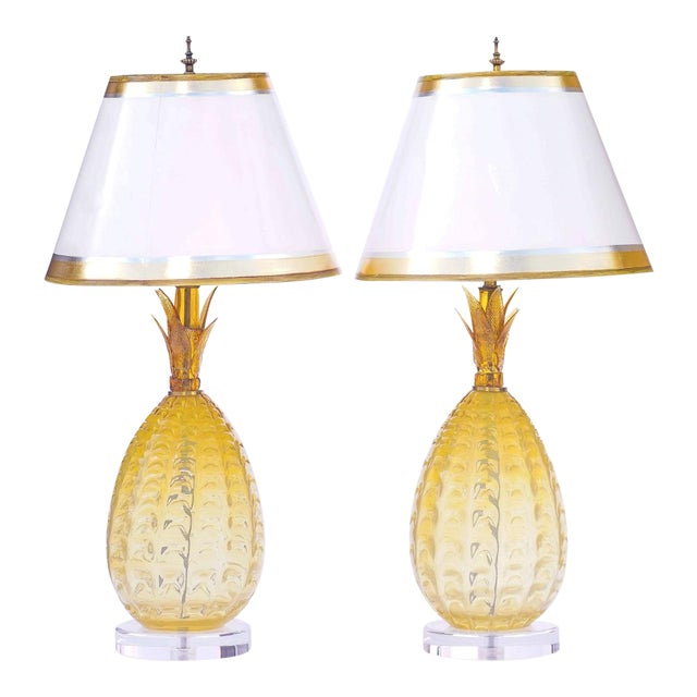Vintage Murano Pineapple Lamps With Lucite Bases - a Pair For Sale