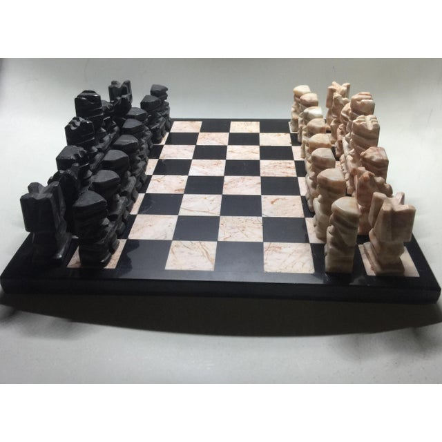 Primitive Carved Aztec-Style Marble Chess Set For Sale - Image 3 of 6