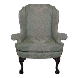 Late 19th Century Kindel #412 Philadelphia Claw Foot Winterthur Wing Chair For Sale