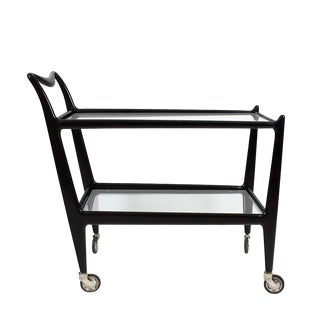 1950´s Two Levels Bar Cart by Ico Parisi, Stained Beech, Glass - Italy For Sale