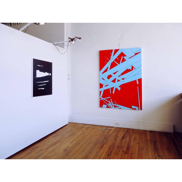 This contemporary abstract oil painting by American artist Brandon Woods features a monochromatic color palette of black...