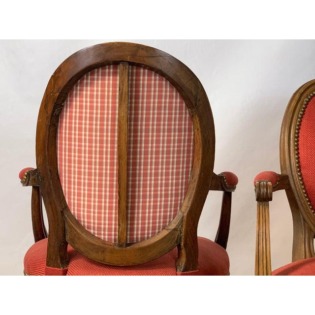Pair of French Louis XVI Beechwood Fauteuils For Sale - Image 10 of 12