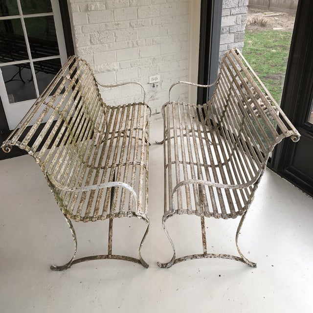 French 1920's White Garden Benches - a Pair For Sale - Image 12 of 12