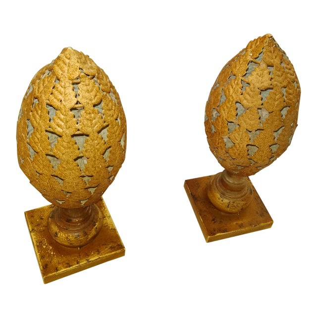 20th Century Traditional Tin Finials - a Pair For Sale