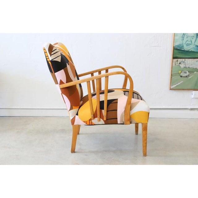 Contemporary Marimekko Britta Maj on Vintage Swedish Armchair For Sale - Image 3 of 10