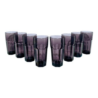 1970s Libbey Gibraltar Amethyst Glass Tumblers - Set of 8 For Sale