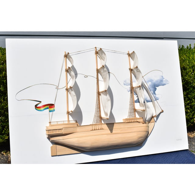 Abstract Weston Jandacka 'Sail Boat No. 2' 3D Sculpture Painting For Sale - Image 3 of 13