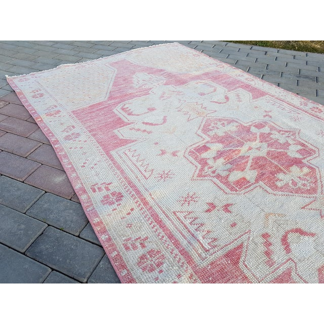"""Distressed Red and Yellow Turkish Rug 4'1"""" X 8'6"""" For Sale - Image 9 of 12"""