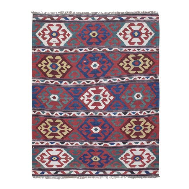 """""""Primary Colors,"""" Antique Kazak Kilim For Sale"""