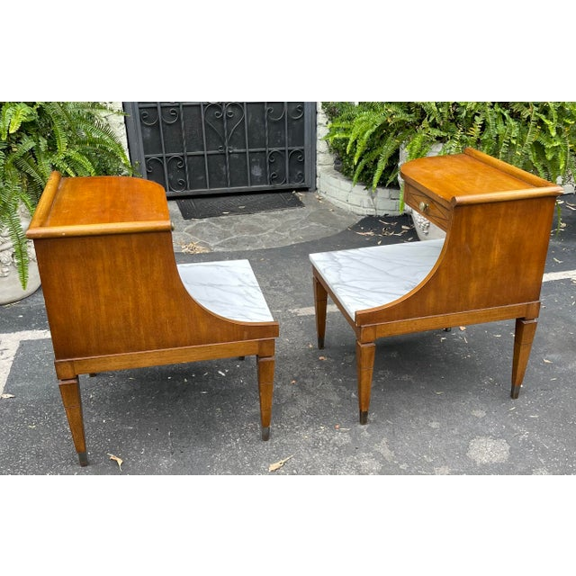 Grosfeld House Hollywood Regency Mid Century Modern Empire Walnut & Marble End Tables - a Pair For Sale In Los Angeles - Image 6 of 8