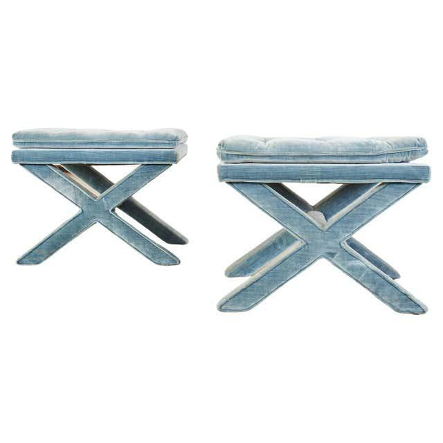 Pair of Billy Baldwin Style X Base Tufted Blue Velvet Benches For Sale - Image 13 of 13