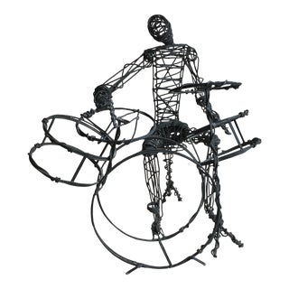 Late 20th Century Brutalist Metal Wire Drummer Sculpture For Sale