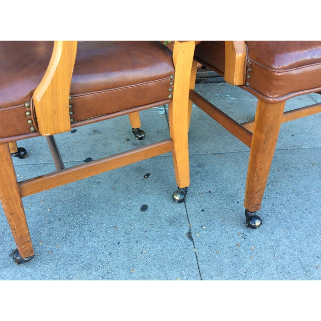 Vintage Faux Leather Side Chairs - a Pair For Sale - Image 10 of 11