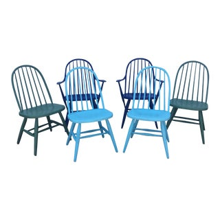 Vintage Blue and Green Windsor Style Dining Chairs - Set of 6 For Sale