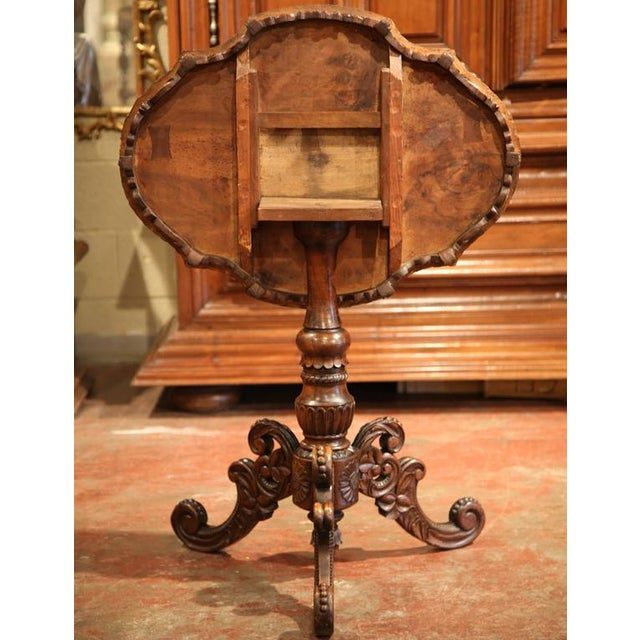 19th Century Swiss Black Forest Carved Walnut Side Table With Deer Inlay Scenes For Sale - Image 10 of 10