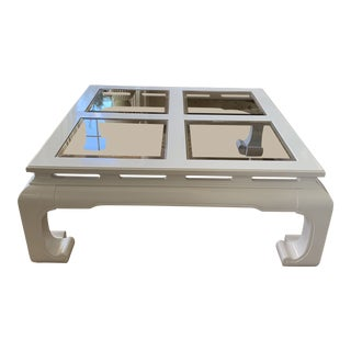 Mid Century Restored White Chinoiserie Ming Style Coffee Table For Sale