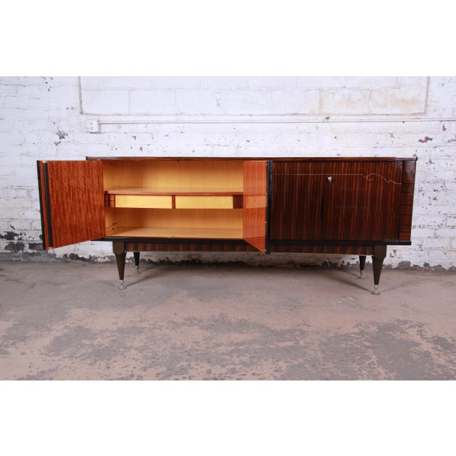 Black French Art Deco Macassar Ebony Credenza or Bar Cabinet by N.F. Ameublement, 1966 For Sale - Image 8 of 13