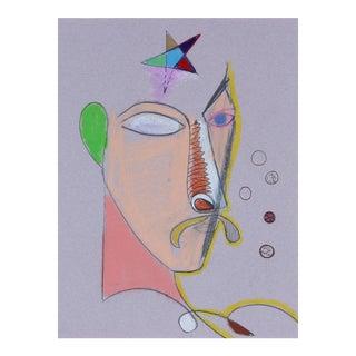 Michael DI Cosola Surrealist Portrait in Pastel C. 1972 For Sale