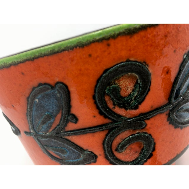 1960s Mid-Century Vulcanic Glaze Red Ceramic Planter For Sale - Image 5 of 9