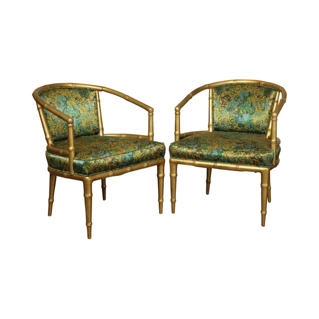 Hollywood Regency Faux Bamboo Mid Century Gilt Wood Barrel Back Armchairs - a Pair For Sale - Image 13 of 13