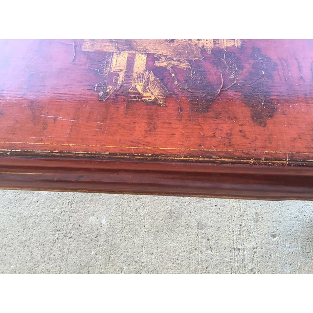 Mid-Century Red Lacquer Chinese Style Coffee Table - Image 6 of 7
