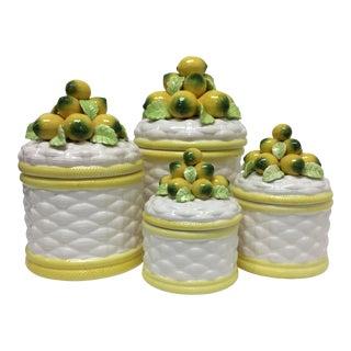 Vintage Robert Nemith Majolica Lemon Canisters - 4 Pc Set For Sale
