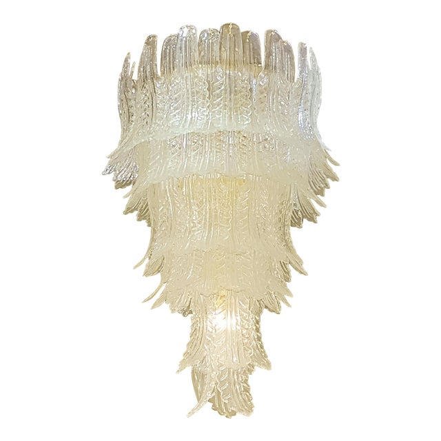 XL Barovier e Toso mid-century modern clear Murano glass leaves chandelier For Sale