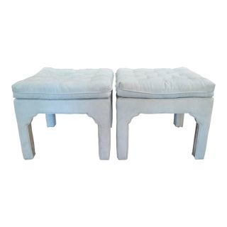 1960s Hollywood Regency James Mont Style Ottomans - a Pair